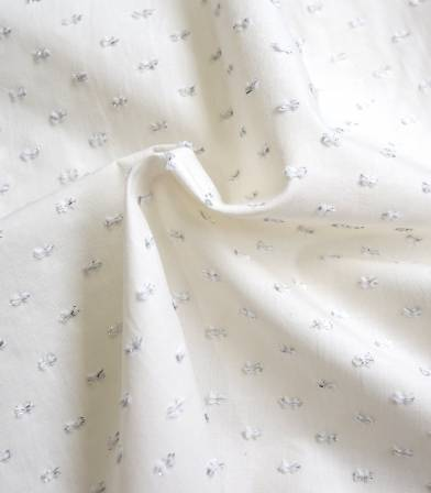 Tissu écru plumetis - lurex Argent