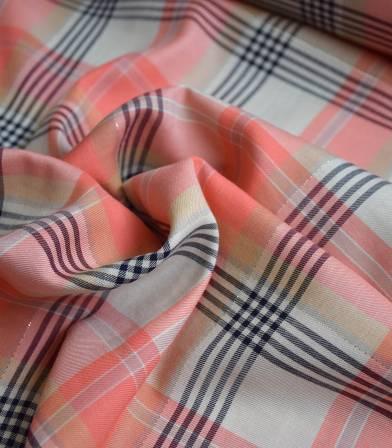 Tissu twill viscose - carreaux lurex Pink