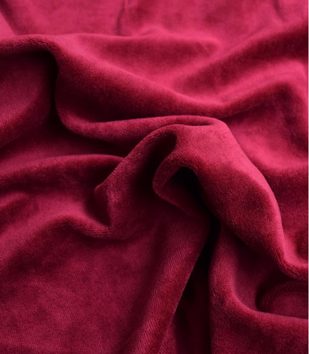 Tissu Jersey velours - Bordeaux