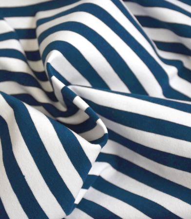 Tissu jersey stripe - Bleu foncé