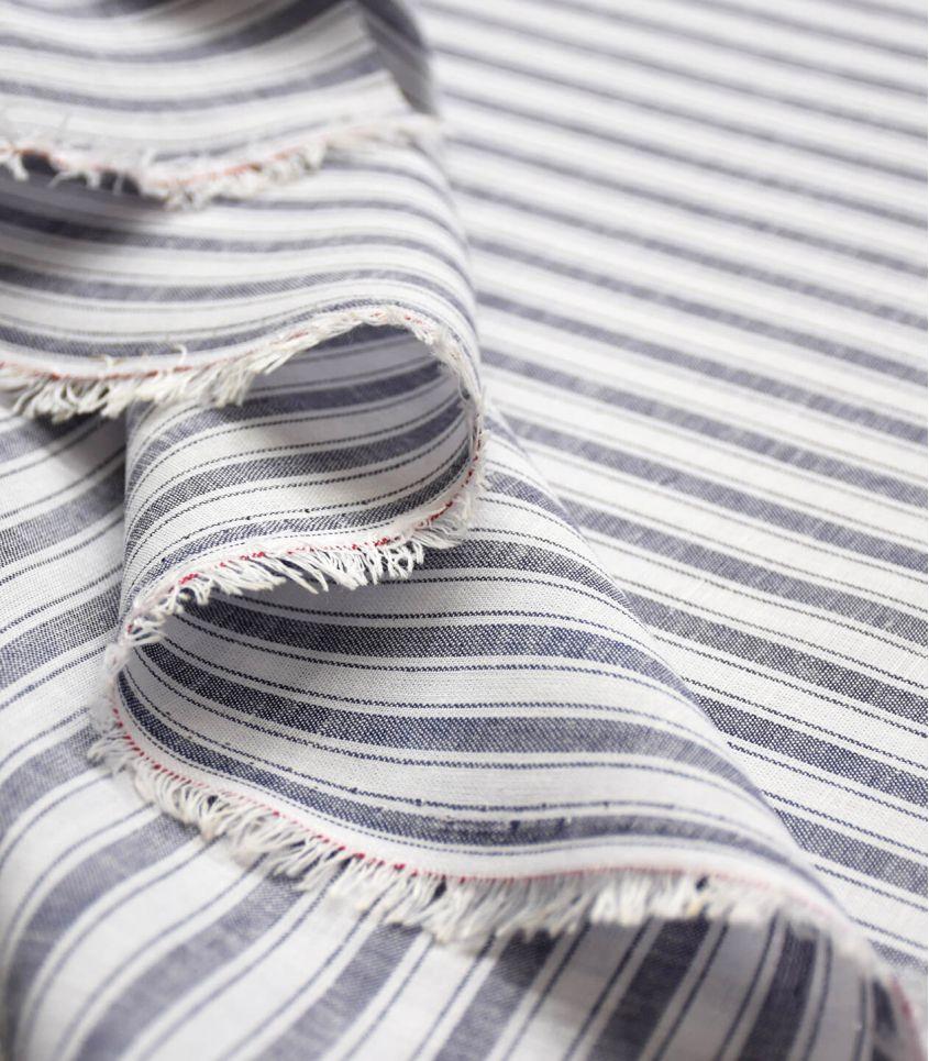 Tissu lin coton double rayures - Marine