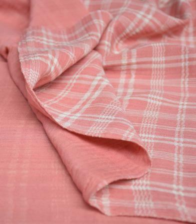 Gaze de coton - Mousseline Tartan Pink