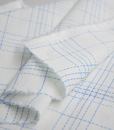 Tissu coton Fibremood - Damier bleu