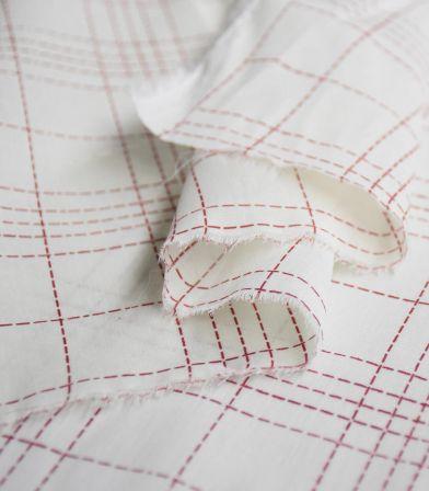 Tissu coton Fibremood - Damier cramoisi