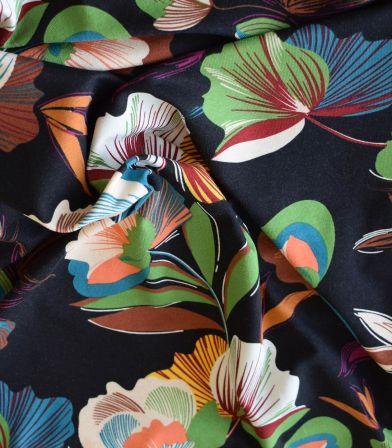 Tissu jersey viscose - Fiora Noir