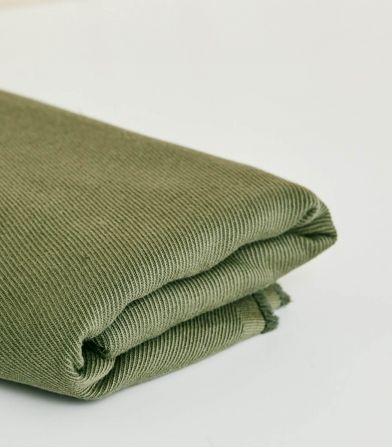 Tissu Twill Lin / Coton - Olive green