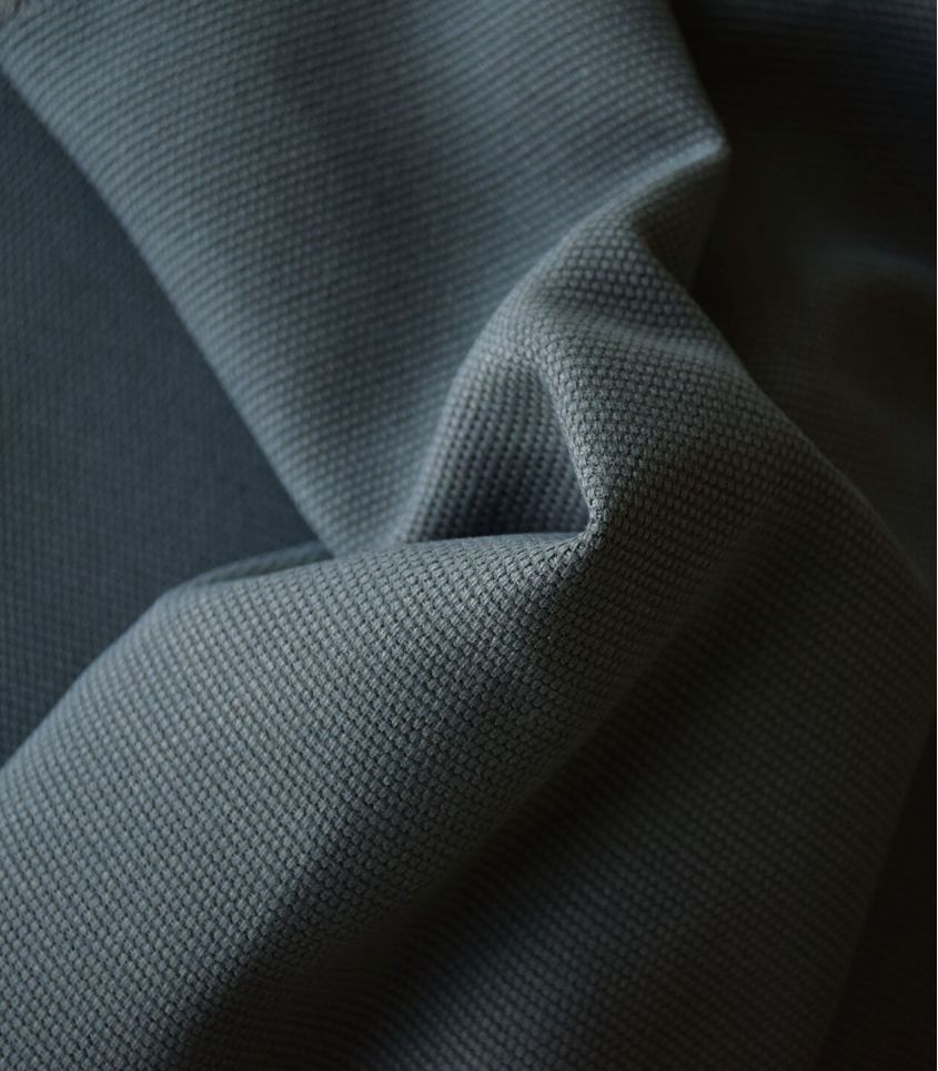 Tissu natté de coton - Acier