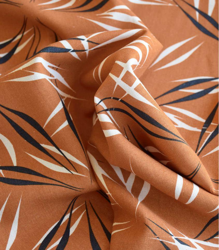 Tissu lin viscose - Palmeraie - Chesnut