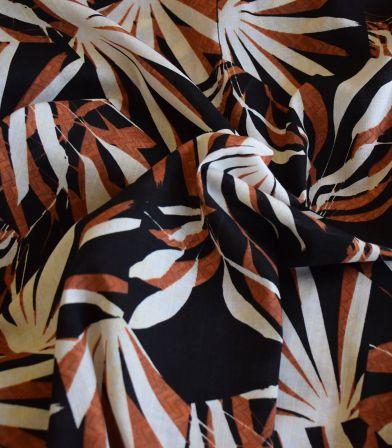 Tissu coton viscose - Areka - Noir
