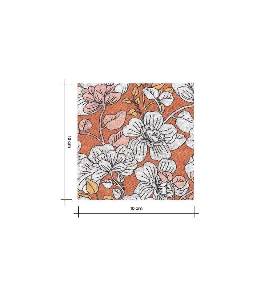 Tissu imprimé lin - Fleurs d'Eglantines