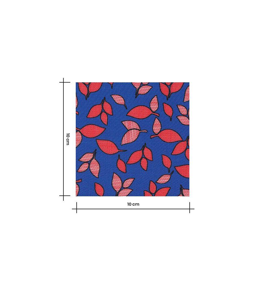 Tissu viscose Bleu feuillage rouge