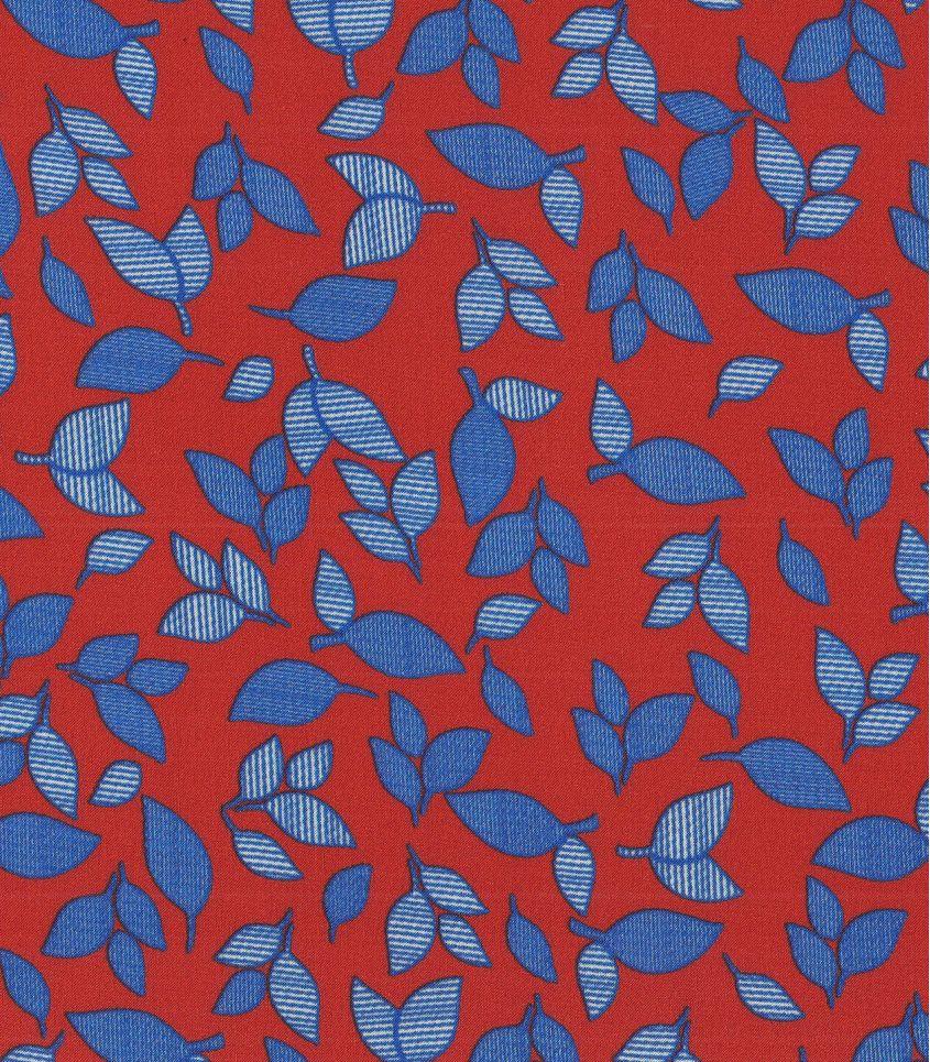 Tissu viscose Rouge feuillage bleu