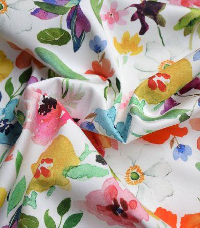 Tissu coton élasthanne - Fleurs aquarelles Yellow