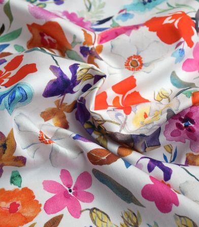 Tissu coton élasthanne - Fleurs aquarelles Pink