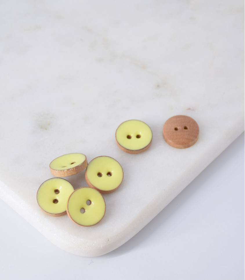 Boutons bois peint limoncello - 15mm