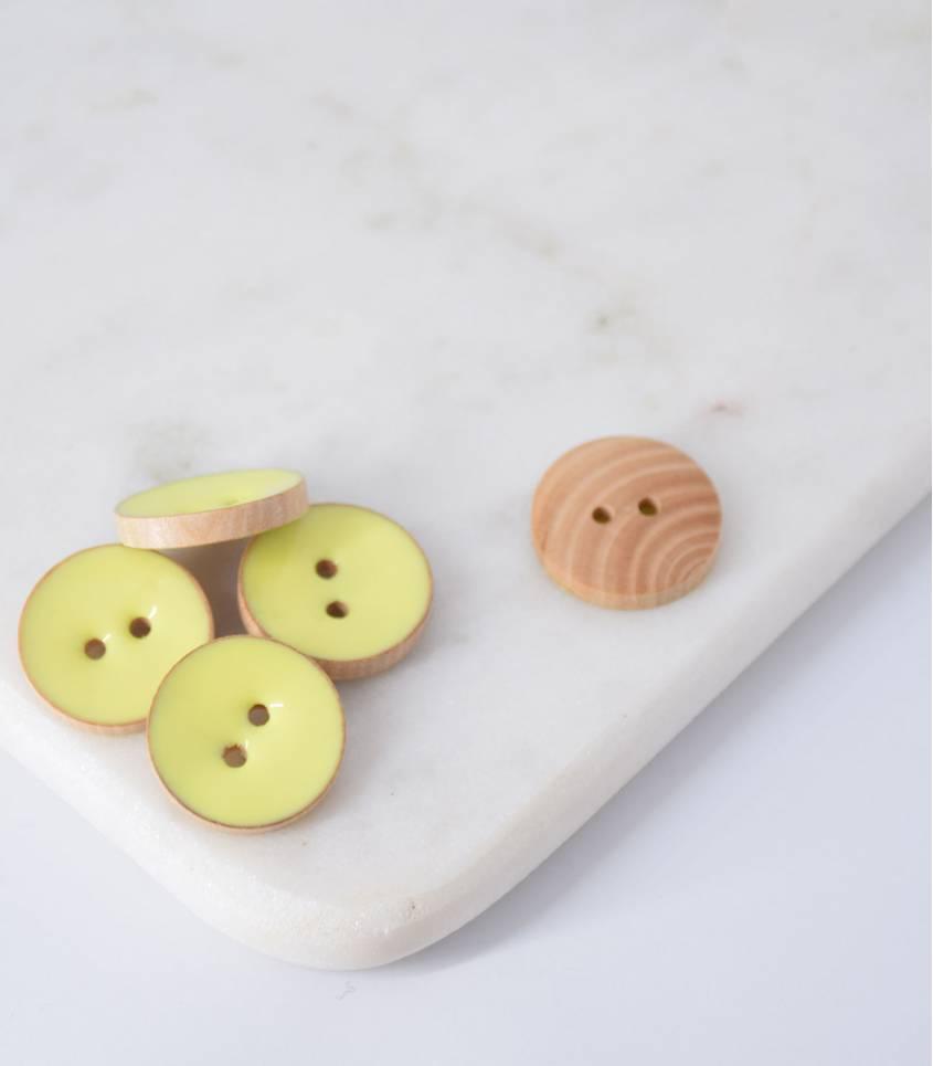 Boutons bois peint limoncello - 20mm
