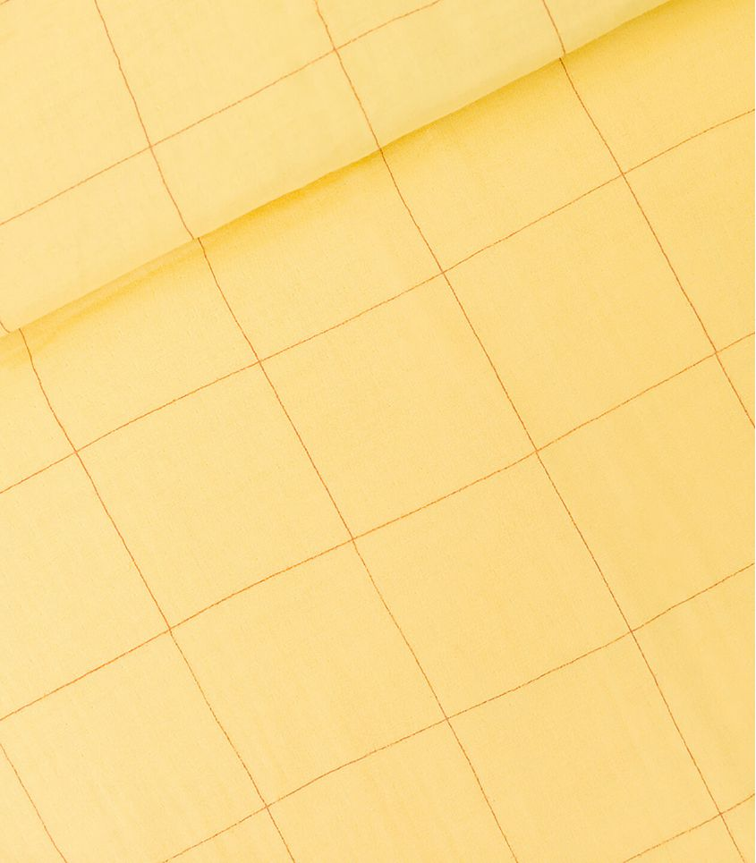Tissu Double gaze - Thin Grid XL - Pop corn Yellow
