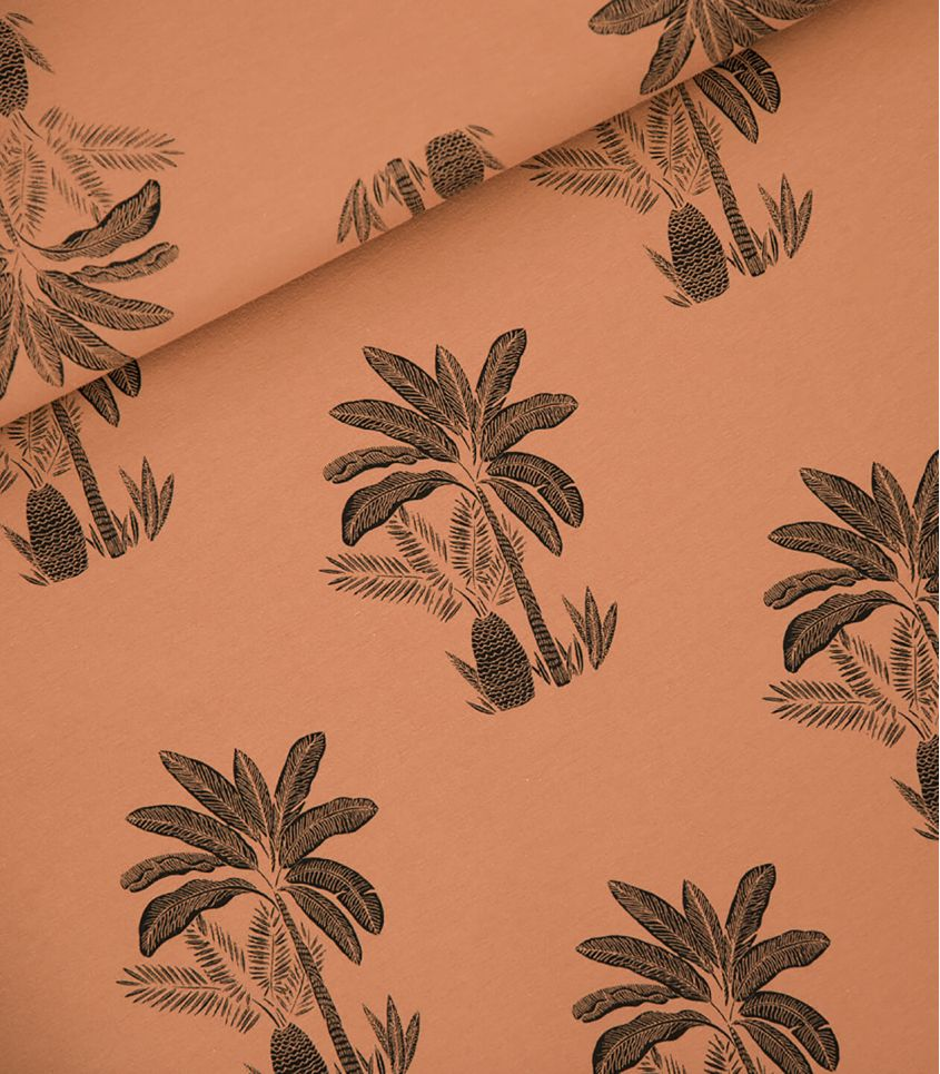 Tissu French Terry Palm Trees - Pecan brown