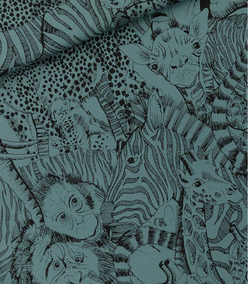 Tissu French Wild Animals - North Atlantic Blue