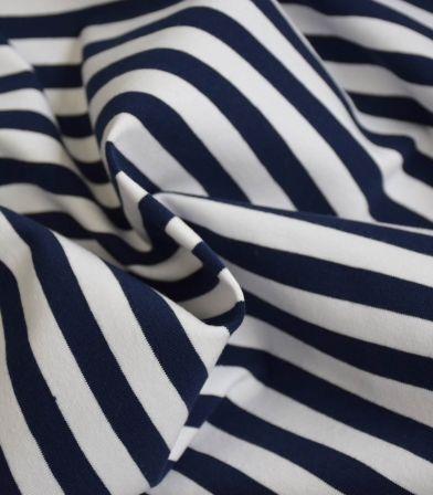 Tissu jersey stripe - Bleu Marine