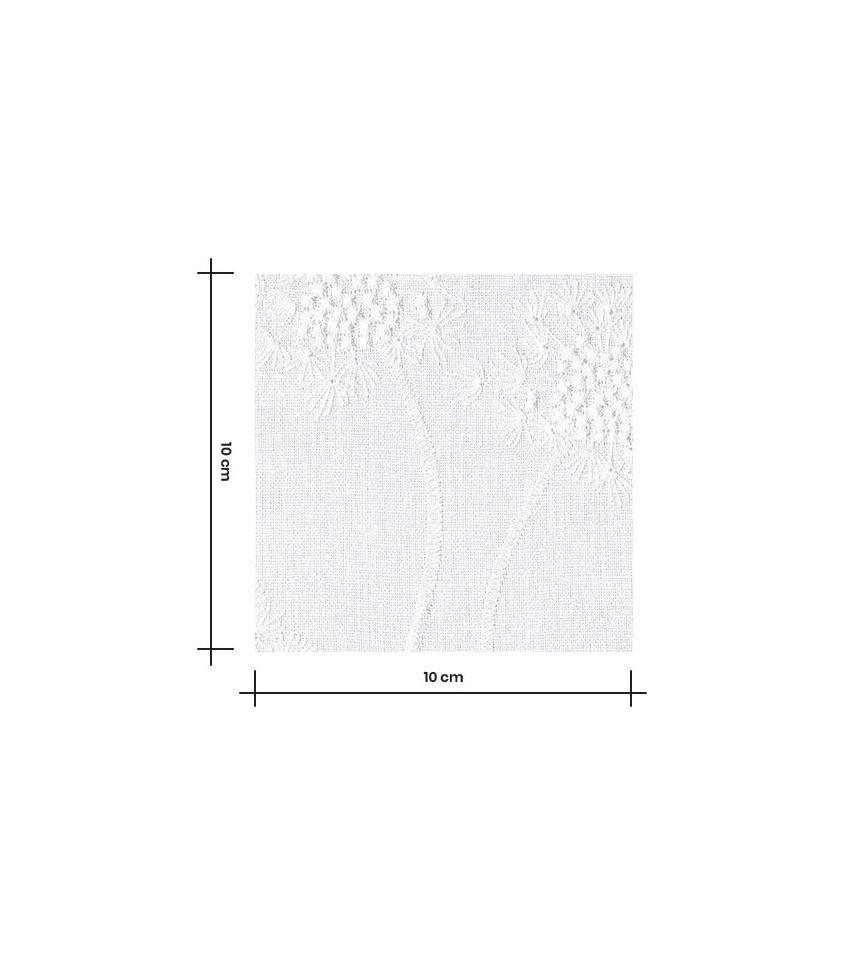 Tissu lin viscose - Fleur de pissenlit brodé - Blanc
