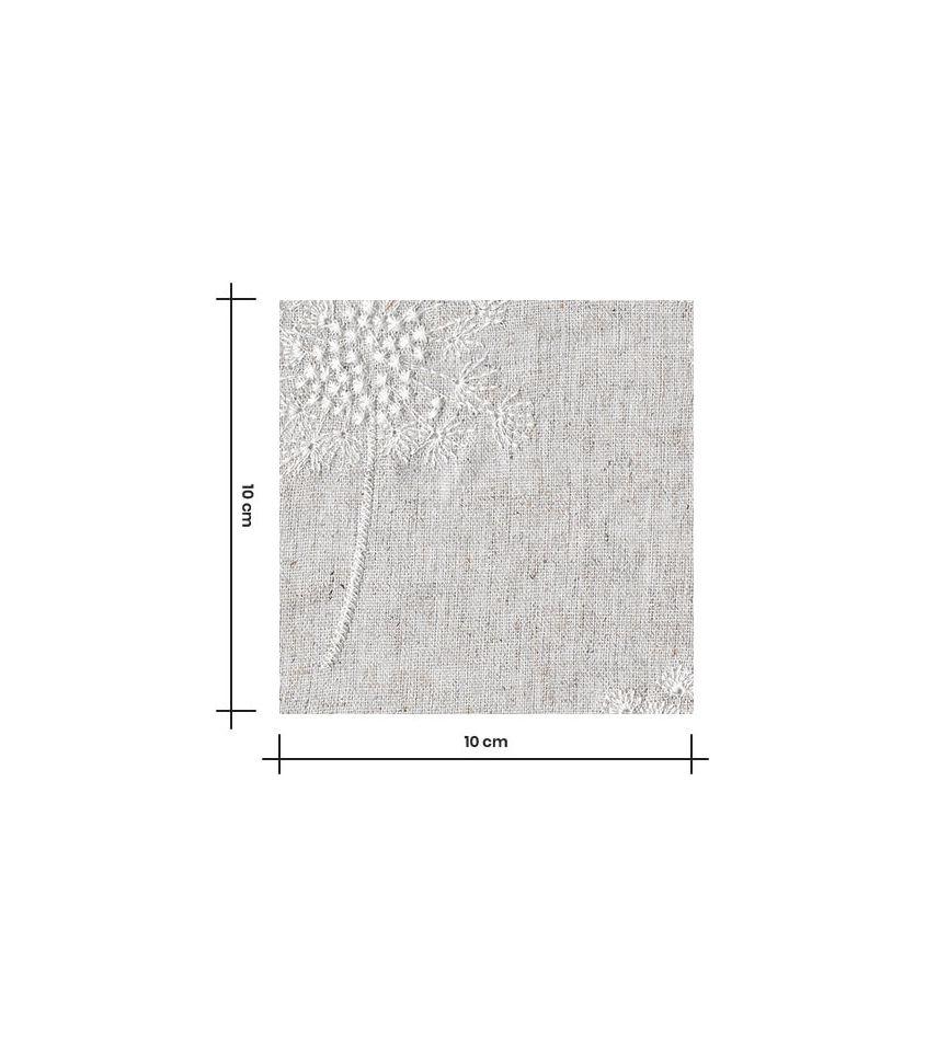 Tissu lin viscose - Fleur de pissenlit brodé - Naturel