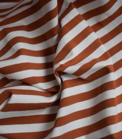 Tissu jersey stripe - Brique