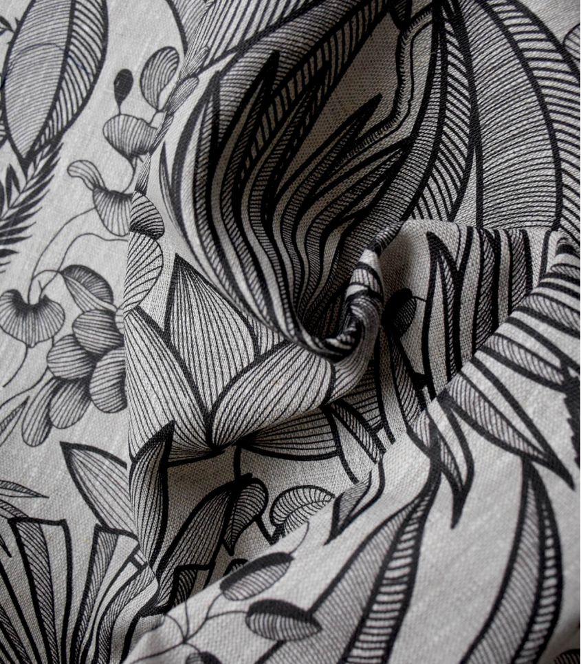 Tissu lin - Lombok naturel Noir