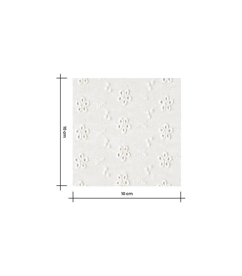 Tissu jersey viscose brodé - Guirlande de fleurs - ivoire
