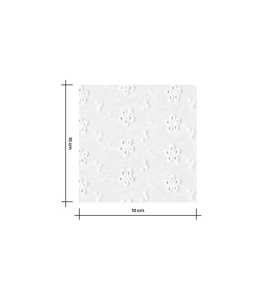 Tissu jersey viscose brodé - Guirlande de fleurs - blanc