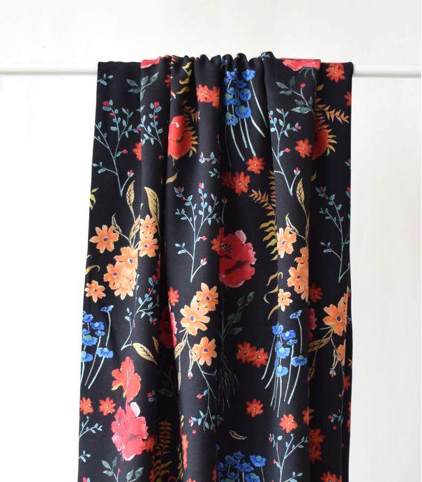 Tissu viscose Rooty flowers - Black