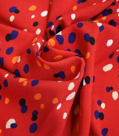 Tissu viscose pois colorés - vermillon