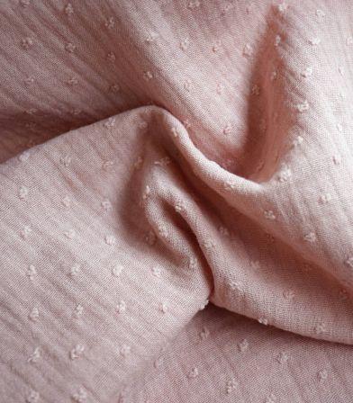 Double gaze Plumetis - Rose