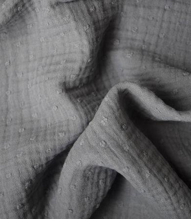 Double gaze Plumetis - Gris