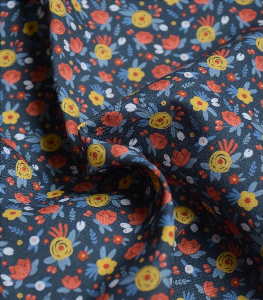 Tissu popeline coton - Rosiers