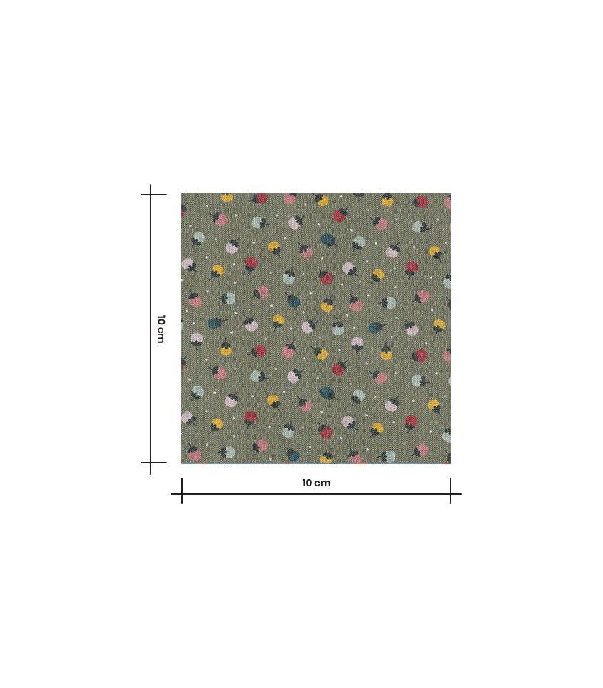 Tissu popeline coton - Boutons de fleurs - Kaki