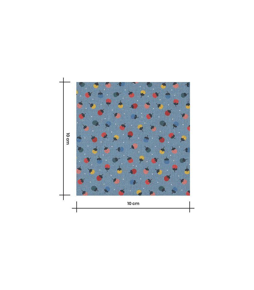 Tissu popeline coton - Boutons de fleurs - Bleu