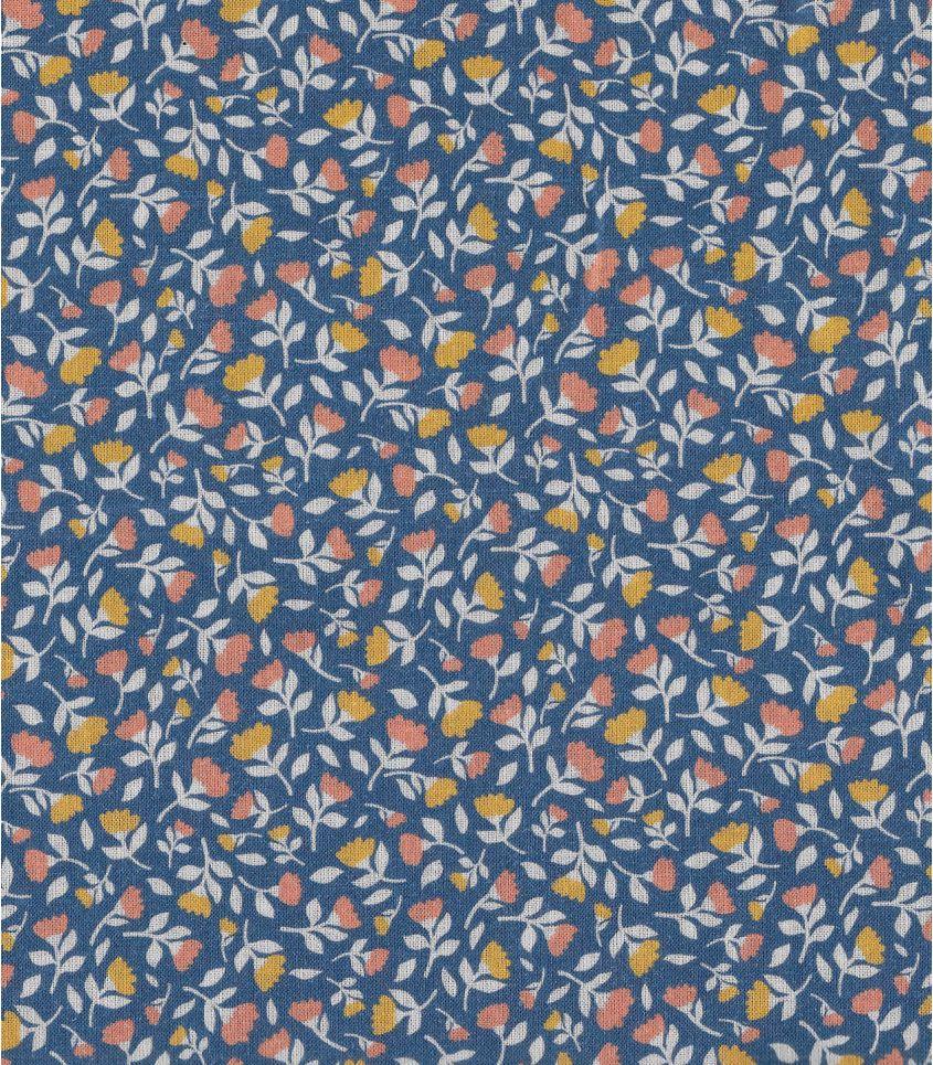 Tissu popeline coton - Fleur de souci - Bleu