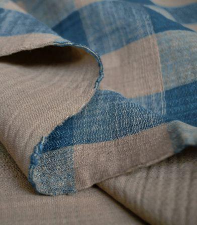 Tissu Mousseline Vichy - Sand & Blue