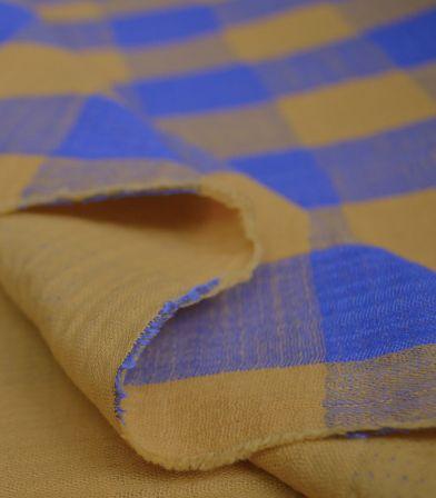 Tissu Mousseline Vichy - Mimosa & Lapis blue