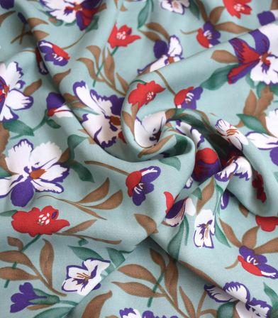Tissu viscose - Fleurs vert d'eau