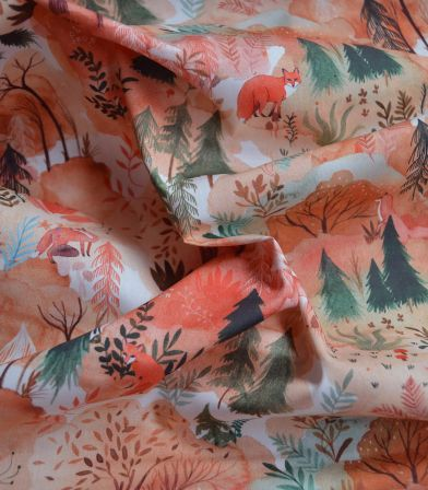 Tissu Popeline Coton - Autumn Forest