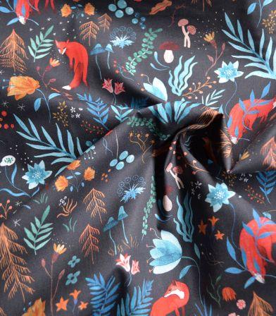 Tissu Popeline Coton - Dark Forest