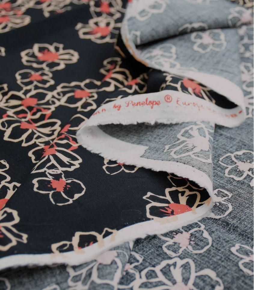 Tissu viscose élasthanne - Anémone noir
