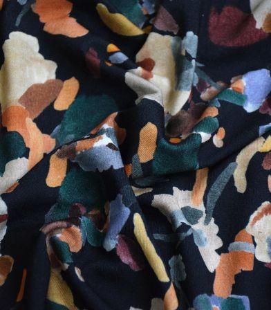 Tissu jersey viscose - Digital Navy