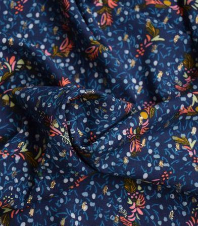 Tissu viscose Blue mood - plumetis or
