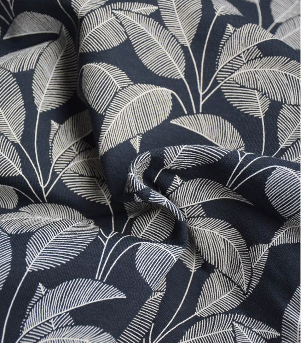 Tissu French terry brushed - Leaves Navy