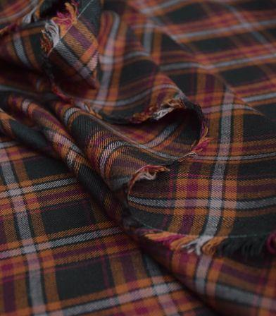 Tissu viscose Happy check - Brown
