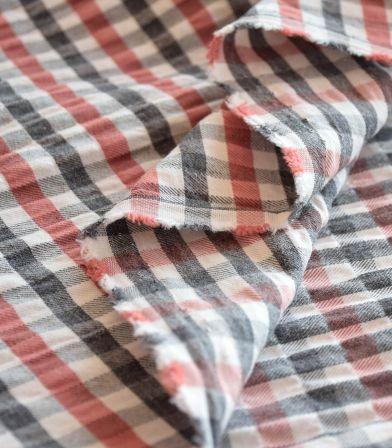 Tissu coton gauffré - carreaux Guimauve