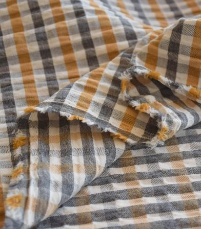 Tissu coton gauffré - carreaux Azafran